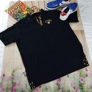 Crown Holder Black Gold Polo Shirt 4XL